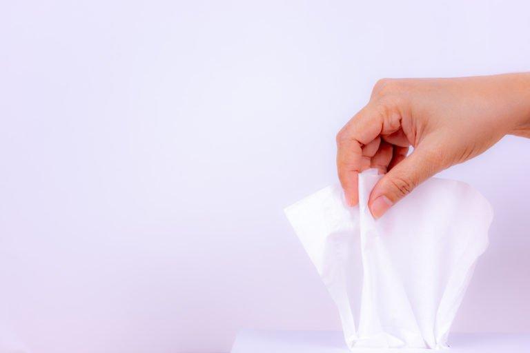 baby tissue in hand